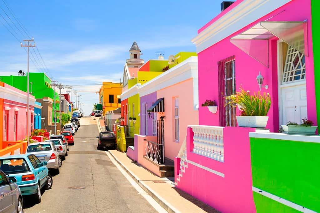 Casitas de colores en barrio Bokaap de Cape Town