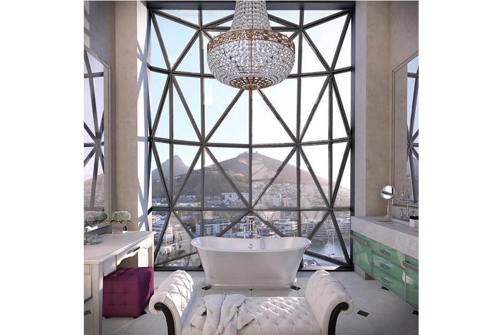 Bañera con vistas exterior en Piscina en Hotel The Silo en Cape Town