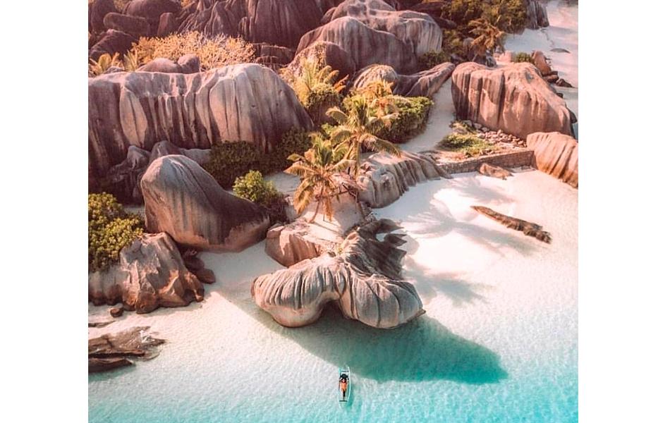 Vista aerea de playa paradisiaca