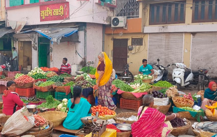 Mercado en la calle en Udaipur