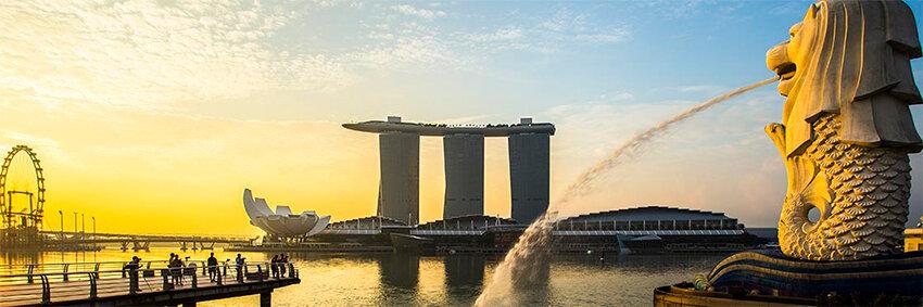 leon en Esplanade Merlion en Singapur