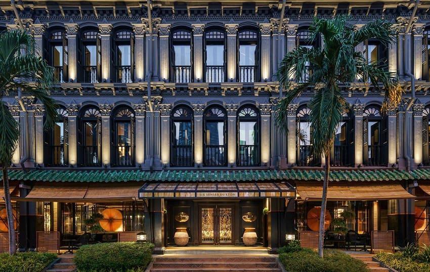 fachada del hotel Six Senses Duxton en Singapur