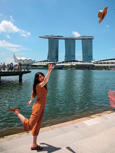 Barbara Cortes en Esplanade Merlion Singapur