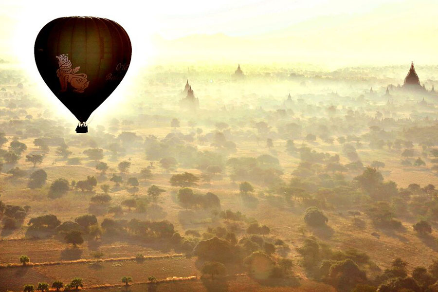 Myanmar, viaje en globo
